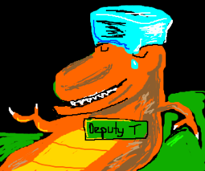 T-rex is deputized through cool hat.