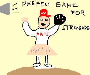 Steven Strasburg wears tutu perfect game