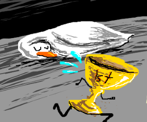 trophy running from sleeping duck