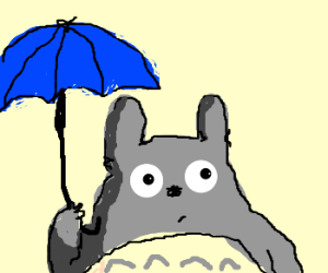 Totoro with his umbrella