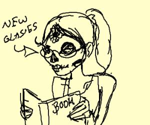 Skullface gets new reading glasses.