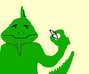 an Iguana with Marijuana.