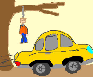 A giant car drives by a hanged man.