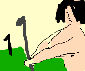 fat naked lady playing golf