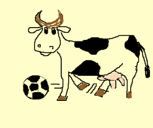 Cow playing soccer.