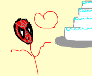 Spiderman in love with cake.