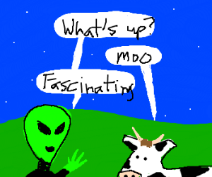 alien makes first contact with cow
