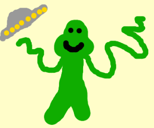Green alien with noodley arms