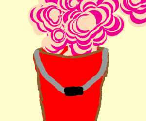 A Bucket Filled with pink Steam