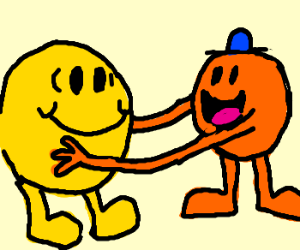 Mr Happy is tickled... by Mr Tickles.