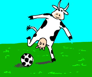 Soccer-playing cow