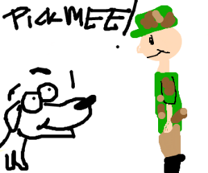 Army dog says pick me!