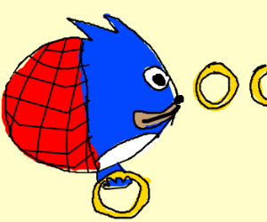 Sonic Spiderman blimp collecting rings