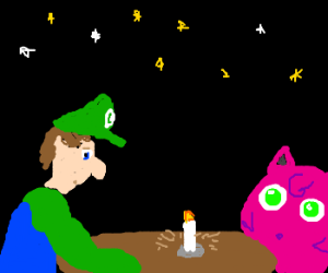 Luigi and Jigglypuff go out on a date.