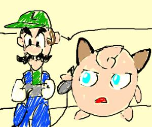 Luigi plays with Jigglypuff