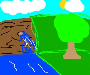 A broken dam next to a tree