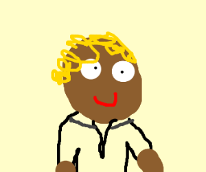 Black guy with blonde hair in a tuxytux