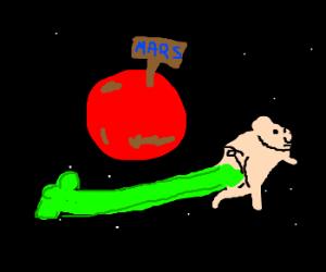 Methane-propelled pig orbits Mars