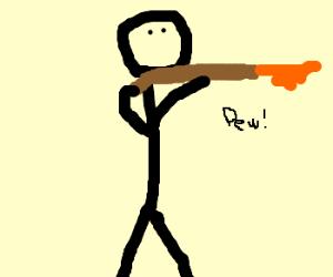 Man fires shotgun.