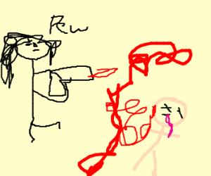 "Man shoots a gun, goes ""pew"""