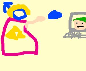 Man-Zelda throws blue potato link's site