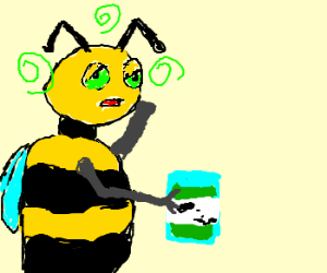 drunk bee holding a jar of acid