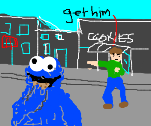 Chased theif eating cookies