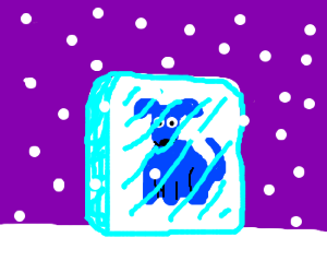 blue dog in ice cube with snow falling
