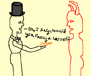 British gentleman gives devil a carrot