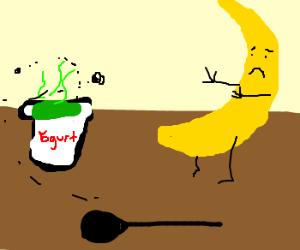 Germaphobe banana refuses to eat yogurt