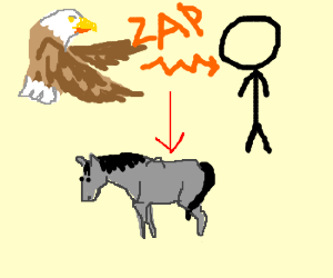 eagle turns man into horse