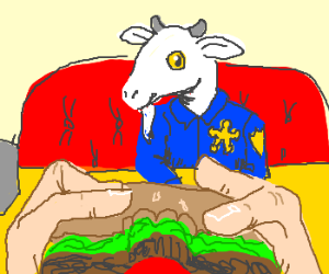 Bearded goat sheriff takes you for lunch