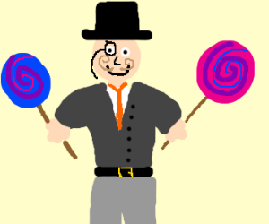 Man w/ moustache and tophat enjoys candy
