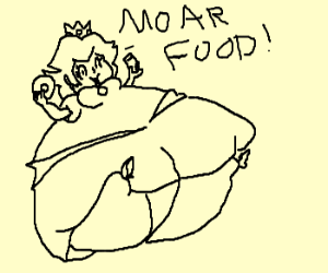 fat peach demands more food