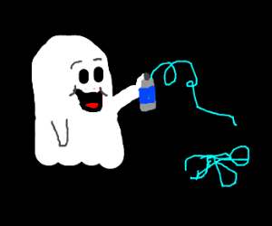 ghost delighted at silly string
