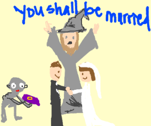 Young Gandalf conducts marriage service