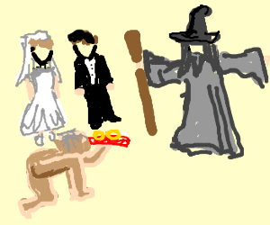 Gandalf weddin vicar + golum ring bearer