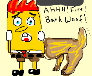 Spongebob labrador head on fire