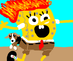 Sponge Bob Head-On-Fire Has Dog In Butt