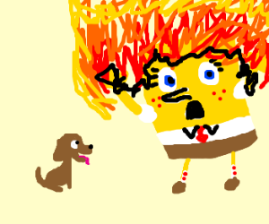 Spongebob on fire as puppy watches