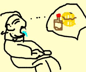 Fat kid dreams of waffle, drools