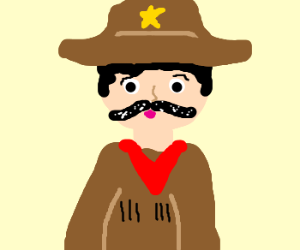 cow boy has white substance in his tash