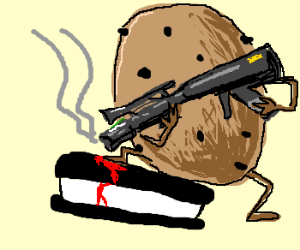 Armed cookie shoots ice cream sandwich