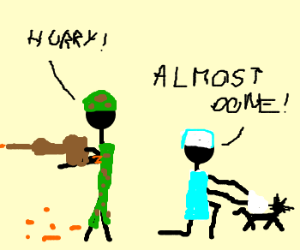 Soldier guards vet