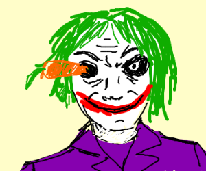 Joker with a carrot in his eye