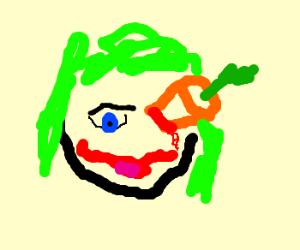 Joker has a carrot in his eye