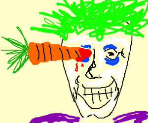 Joker stabbed in the eye with a carrot