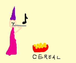 Wizard plays piccolo w/1 hand for cereal