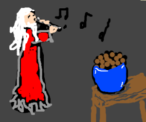 Santagalf playing flute to cocoa puffs