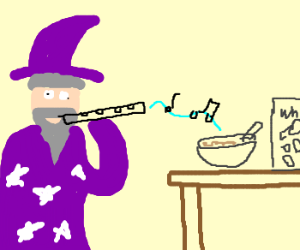 Playing magic flute in front of cereals